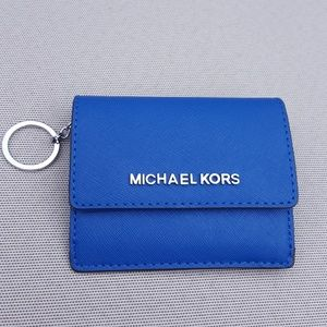 Michael Kors key chain card wallet electric blue